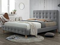 Двоспальне ліжко з мякою оббивкою Alice szary Signal