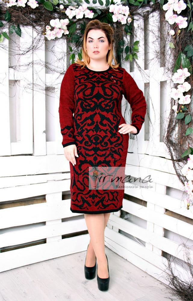 6b86183655d Вязаное теплое платье с черным рисунком Герда красное - DS Moda - женская  одежда оптом от