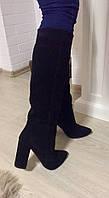 Женские стильные демисезонные сапоги Angel натуральная черная замша каблук 10 см, фото 1