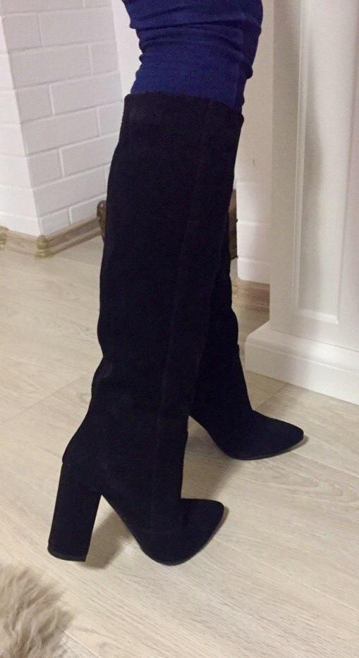 Женские стильные демисезонные сапоги Angel натуральная черная замша каблук 10 см