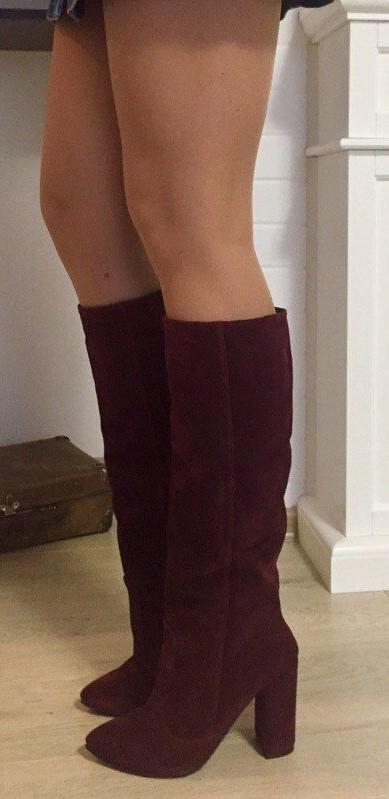 Женские стильные зимние сапоги Angel натуральная замша цвет марсала каблук 10 см еврозима