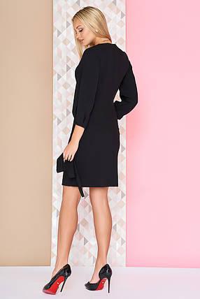 Деловое платье короткое полуприталенное с поясом рукав три четверти черное, фото 2