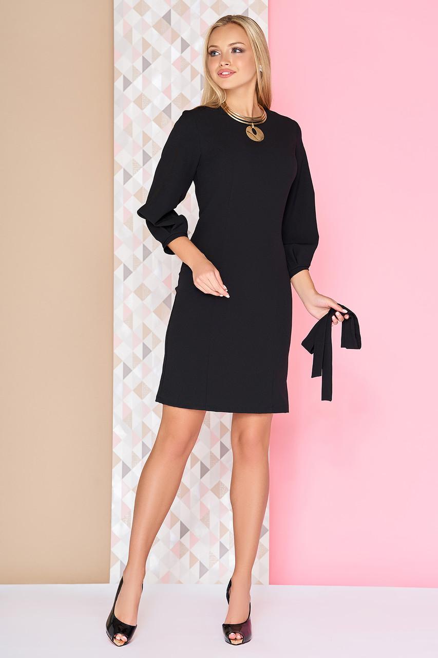 Деловое платье короткое полуприталенное с поясом рукав три четверти черное