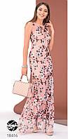 Стильное вечернее платье розового цвета без рукава. Модель 18416. Размеры 42-46