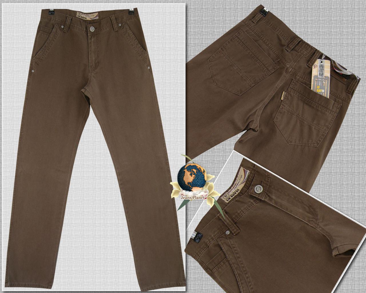 Джинсы брюки мужские прямые с косым карманом LeGutti светло-коричневые