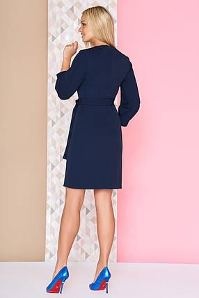 Деловое платье выше колен полуоблегающее под пояс рукав три четверти темно синее, фото 2
