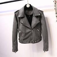 Женская замшевая куртка косуха темно серая (графит), фото 1