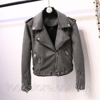Женская замшевая куртка косуха темно серая (графит)