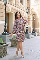 Женское летнее короткое платье принт бабочки Большого размера