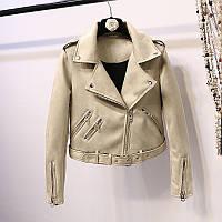 Женская замшевая куртка косуха бежевая, фото 1