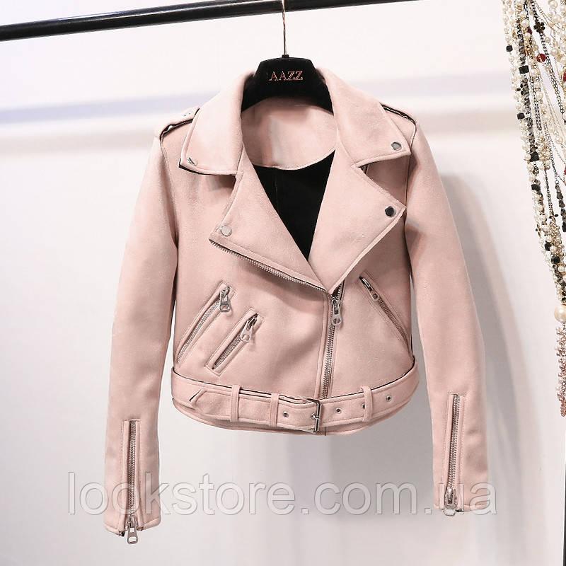 Женская замшевая куртка косуха розовая