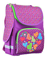 Ранец школьный каркасный  PG-11 Hearts pink  31*26*14 554447  Smart