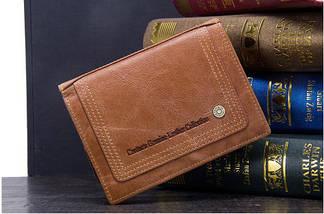 Мужской кожаный кошелек Contacts с натуральной кожи, фото 2