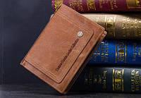 Мужской кожаный кошелек Contacts с натуральной кожи, фото 1