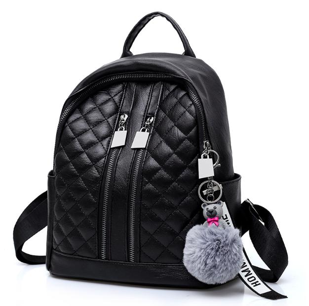 Рюкзак женский Glossy кожзам с брелком Черный