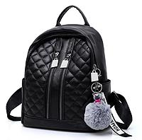 Рюкзак женский Glossy кожзам с брелком Черный, фото 1