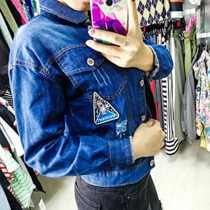 Джинсовая куртка тёмно синяя 548-905, фото 2