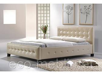 Двоспальне ліжко з мякою оббивкою Barcelona 160 krem Signal