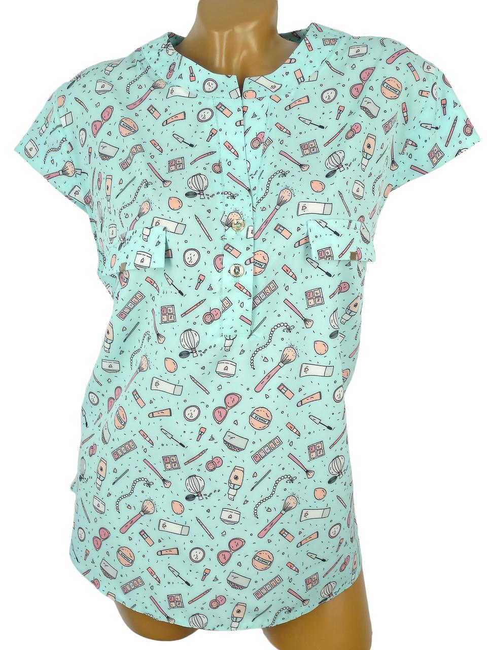 Необычная блуза в веселым рисунком 56р