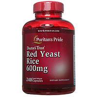 Красный дрожжевой рис, Red Yeast Rice 600 mg Puritan's Pride, 240 капсул