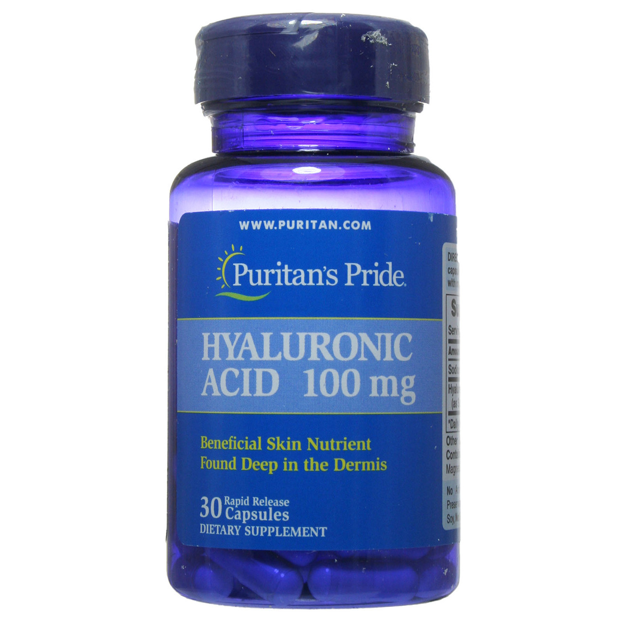 Гиалуроновая кислота, Hyaluronic Acid 100 mg Puritan's Pride, 30 капсул