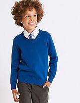 Школьный джемпер синий на мальчика 5-6-7-8-9-10 лет Cotton Rich Blue Marks&Spencer (Англия)