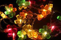 Гирлянда новогодняя разноцветная, цветочки, длина 3 м, питание от сети 220v, прозрачная изоляция на проводе