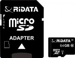 Карта памяти RiDATA microSDXC 64GB Class 10 UHS-I + SD адаптер