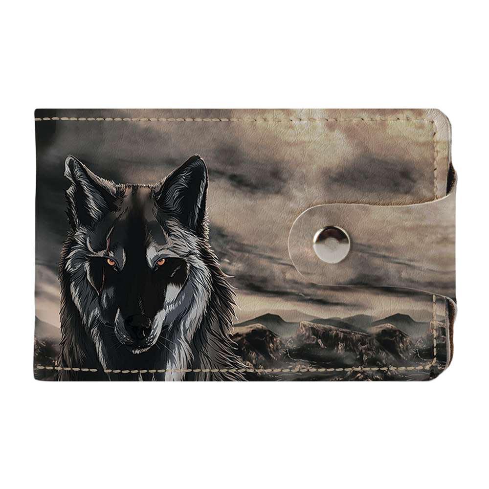 Визитница v.2.0. Fisher Gifts 203 Волк в пустыне (эко-кожа)