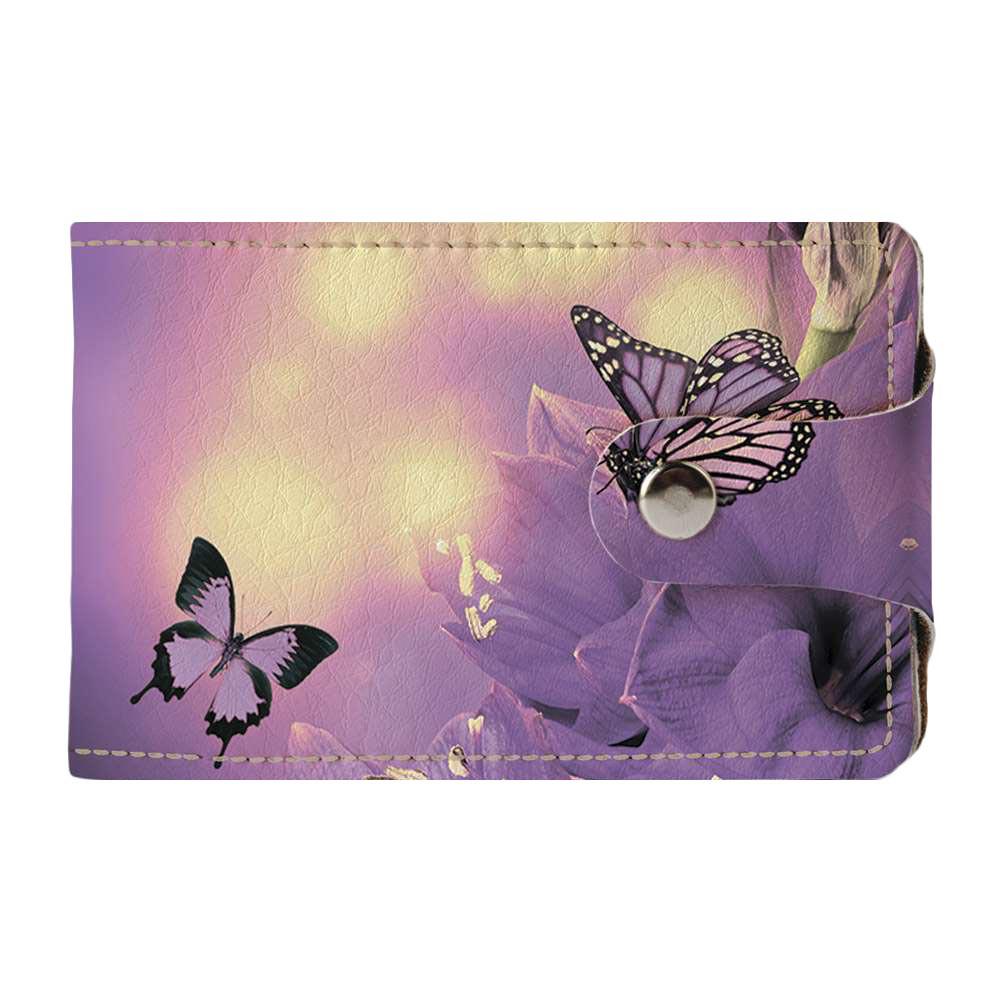 Визитница Fisher Gifts v.2.0. 253 Фиолетовая бабочка на цветке (эко-кожа)