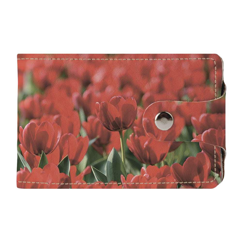 Визитница v.2.0. Fisher Gifts 257 Нежные красные тюльпаны (эко-кожа)