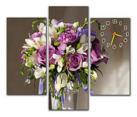 Часы на стену модульные с букетом цветов m 53 ( 30х60 30х80 30х60)