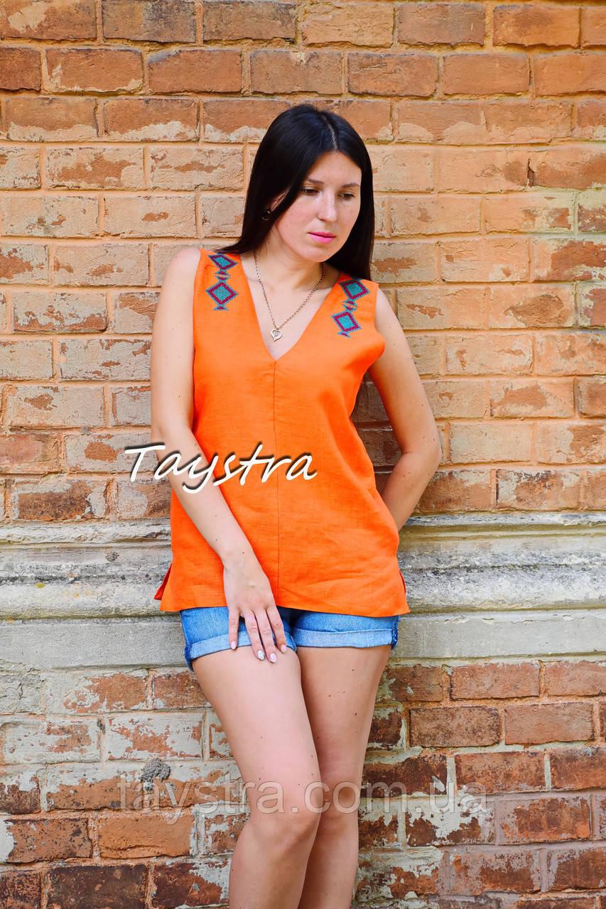 Блуза без рукавов вышитая женская блузка, вышиванка, этно стиль