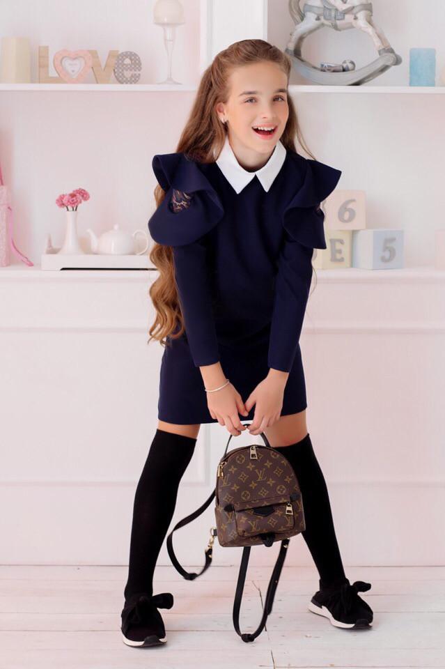 Школьное платье с вставками гипюра 128 - 152р