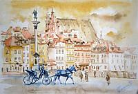 Картина. Акварельная живопись. Польша в стиле ретро.