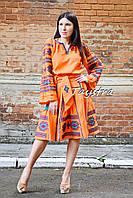 Бохо юбка с вышивкой, четыре клина, этно стиль, вышитая юбка оранжевая