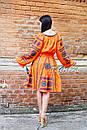 Бохо юбка с вышивкой, четыре клина, этно стиль, вышитая юбка оранжевая, фото 4