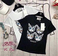Трендовые футболки с котами в четырёх расцветках: белые, темно-синие, чёрные, серые Размер универсальн(14049)
