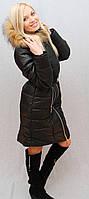 Пальто с мехом черное, фото 1