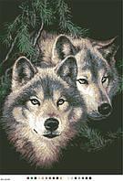 Схема на канве (А-3)  Пара волков