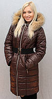 Пальто с мехом коричневое , фото 1