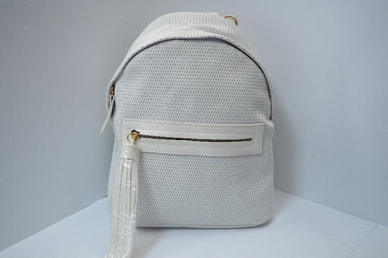 Сумка-рюкзак белая с серебром 31*22*13