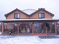 Прозрачные шторы ПВХ на большую кирпичную террасу, фото 1