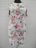 Платье летнее штапельное белое в цветы большого размера