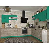 Кухня угловая «Шарлотта»   цвет: дуб крафт серый/абсент Sokme
