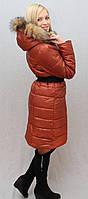 Пальто с мехом терракот, фото 1