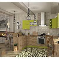 Кухня угловая «Шарлотта» | цвет: дуб крафт золотой/лайм Sokme