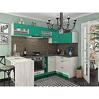 Кухня угловая «Шарлотта»   цвет: дуб крафт белый/абсент Sokme