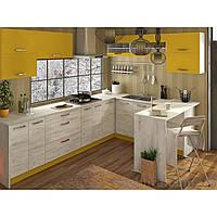 Кухня угловая «Шарлотта»   цвет: дуб крафт белый/желтый Sokme