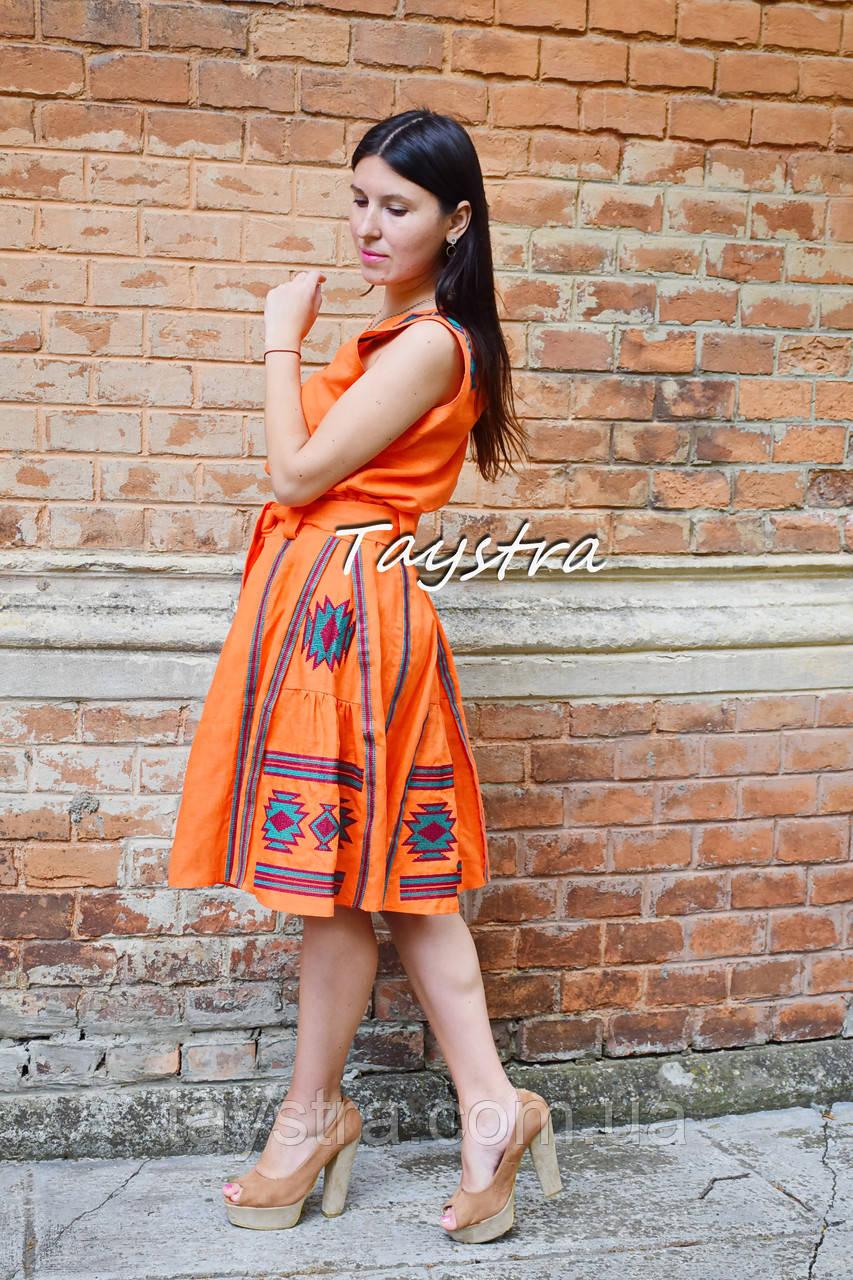 Костюм женский, вышитая юбка с поясом и блузка безрукавка в этно бохо стиле, вышитая одежда лето